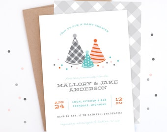 Baby Shower Invitation - Party of Three - Gender Neutral