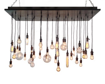 Industrial Chandelier- Rustic Lighting, Modern Chandelier, Edison Bulbs, Dining Room Lighting, Hanging Light Fixture, Urban Chandelier