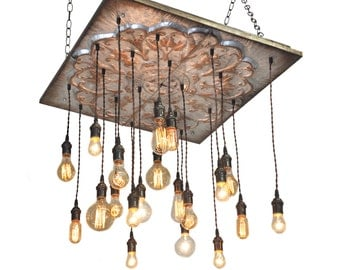 Industrial Tin Chandelier - Industrial Lighting, Metal Tin Lighting, Tin Chandelier, Rustic Lighting, Tuscany lighting