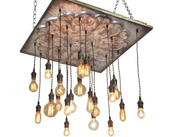 ON SALE Industrial Tin Chandelier - Rustic Lighting