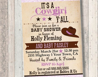 Cowgirl Baby Shower Invitation: Purple