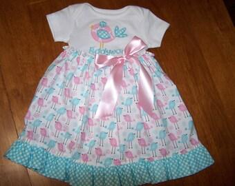 Birdie monogrammed baby ruffled dress