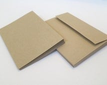 Set of 10 Blank Note Cards with Envelopes, A6 Size, Recycled Paper, Kraft Paper, Eco-Friendly Stationary, Invitations, DIY Cards, Cardmaking