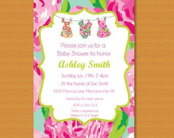 SALE Baby Shower Invitation, Baby Sprinkle Invitation, Lilly Pulitzer Inspired