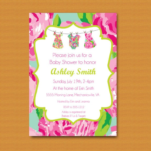 SALE Baby Shower Invitation Baby Sprinkle Invitation Lilly