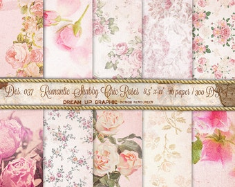 "Shabby chic digital paper : ""Romantic SHABBY CHIC ROSES"" Photos of roses background. Pale Pink and Green rose digital paper, Des 037"