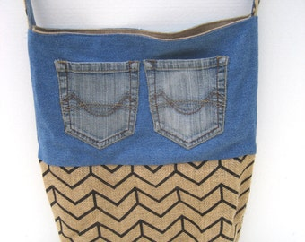 Denim and burlap tote, re-purposed and eco-friendly