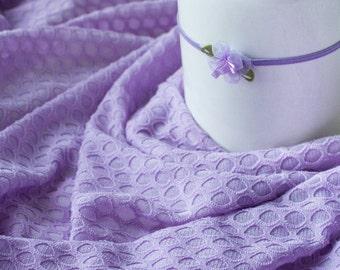 Lavender Stretch Knit Wrap and Flower Headband, Newborn Photo Prop,Semi Sheer Wrap Swaddle Wrap, Layering Fabric.