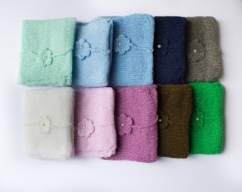 RTS..Mohair Wrap and Mohair Flower Tieback with Pearl, Mint, Blue Gray, Ivory,Pink,Mauve,Brown,Green, Wrap Set. Newborn Baby Photo Prop.