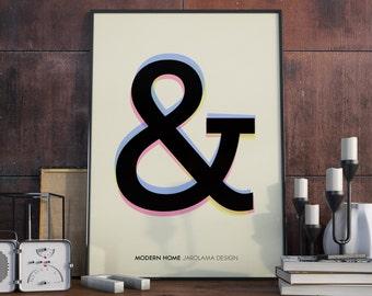 A3 Poster. Modern ampersand print.