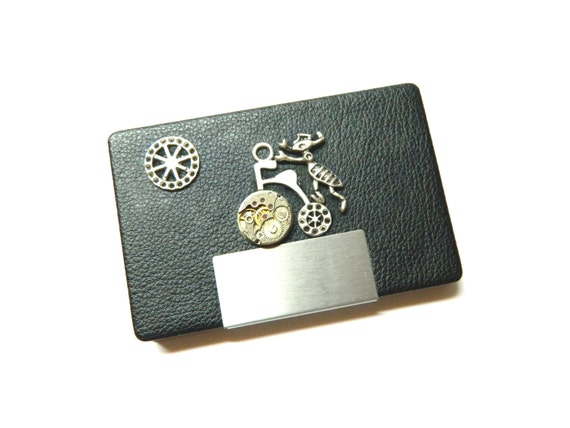 steampunk business card case the ant biker metal by