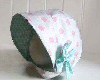 Pink Polka Dot Sun Bonnet - Teal Plaid Baby Sun Hat - Pink Bonnet With Chinstrap and Snaps - Modern Bonnet - Unique Sun Hat