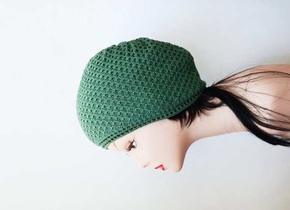 summer green beanie crochet knit slouchy hat s