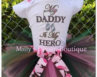 My Daddy Is my Hero Camo tutu outfit/ Daddy's Princess/ Proud/ Camo tutu/ Pink camo tutu