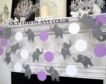 baby shower decorations elephant wall art nursery decoration purple