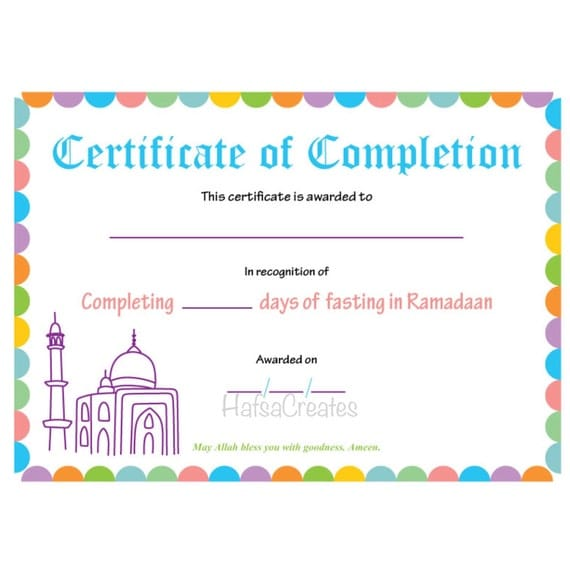 Instant download ramadan completion certificate for kids for Kid certificate templates free printable