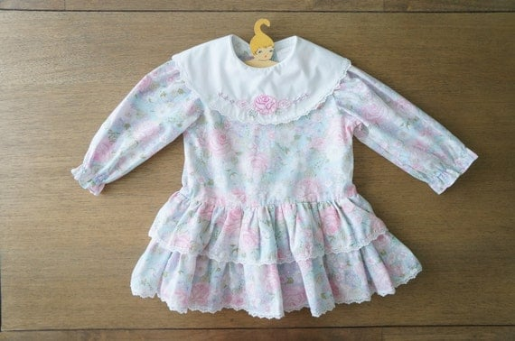 Vintage Baby Clothes Baby Girl Shabby Chic Blue Rose Floral