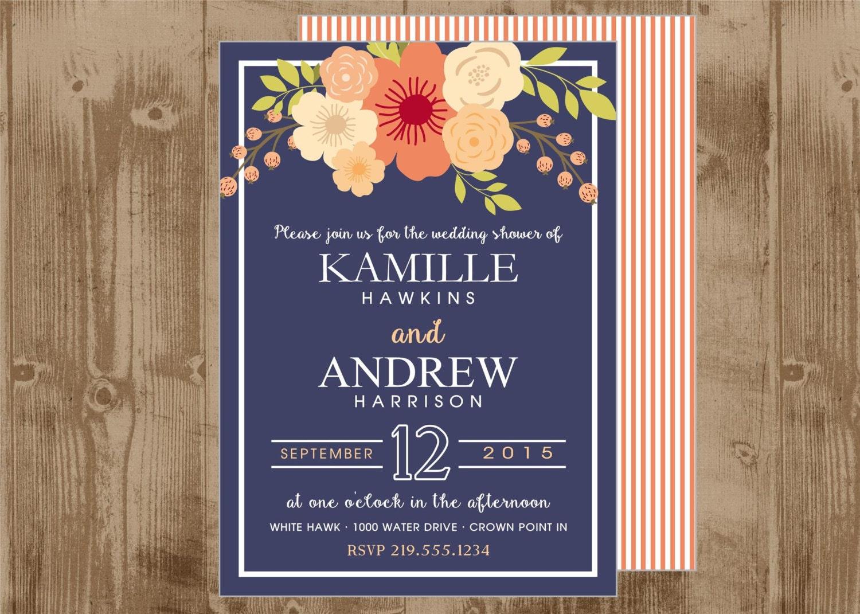 Navy And Peach Wedding Invitations: Printable Navy And Coral Peach Wedding Bridal Shower Invite