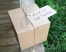 """HALF CASE  • 50 Each •  4"""" x 4"""" x 4""""  Natural Kraft  Tuck Top • Single Cupcake Box •  Bakery Boxes • Gift Box  -  Cookies •  Boxes Only"""