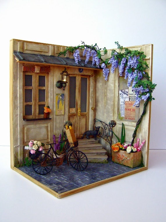 Stair Box In Bedroom: Hand-made Miniature Scene 1:12 Scale Pension Glicyne