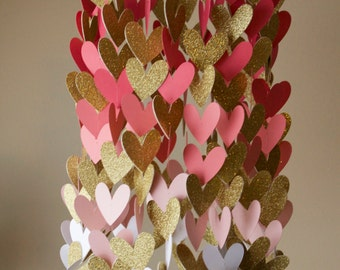 Coral and Gold Heart Shaped Ombre Paper Crib Mobile, Girl Mobile, Modern Mobile, Geometric Mobile, Ombre Mobile, Heart Mobile
