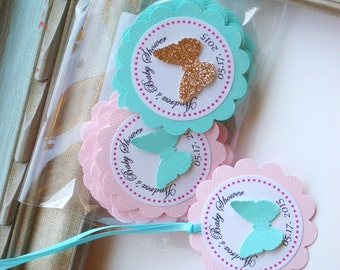 Butterfly Gift Tag Girl Birthday Baby Shower Favor Tags Ribbon Hang Tags One 1st birthday party Pink Scallop Tags Flutter Garden Wrappers