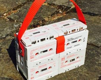 Recycled Cassette tape bag box handbag *Retro* AsBeAu