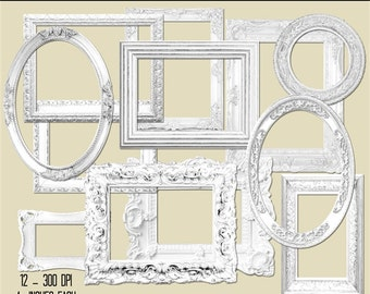 vintage shabby style frames white wooden white fancy png rectangle - White Wood Picture Frames