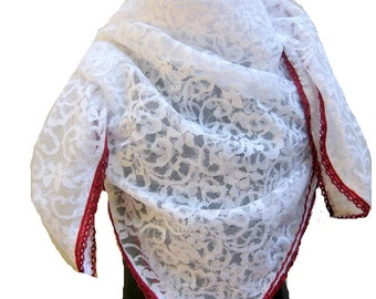 White,floral,lace scarf in net fabric.Free shipping.