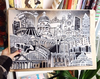 Liverpool Premium Cityscape Drawing