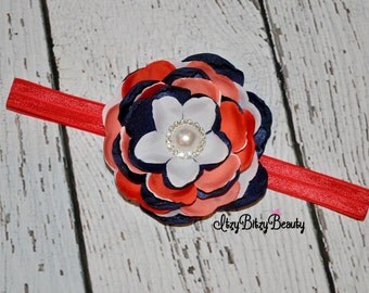 Red white and blue burned satin flower headband fourth of july baby girl