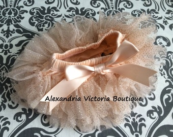 PEACH CHAMPAGNE TUTU bloomer, chiffon ruffle diaper cover, newborn ruffle all around bloomer, gold sparkles-ready to ship!