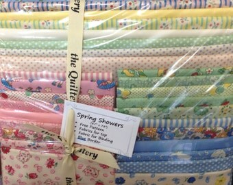 "1930's Reproduction Fabrics Kit NOW ON SALE!   Spring Showers Quilt Kit 67"" x 78"""