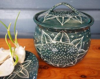 Green Storage Jar Tea Caddy Lidded Pot  sunflower and seed pattern stoneware pottery