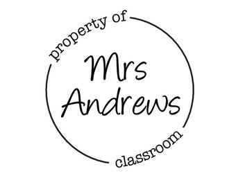 "Property of Stamp, personalised name stamp, book stamp, custom teacher stamp, classroom stamp, teacher appreciation gift, 1.7""x1.7"" (cts90)"