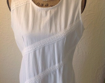 Vintage white cotton sleeveless dress