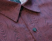 Maroon Woodgrain Printed Cotton Buttondown // Small