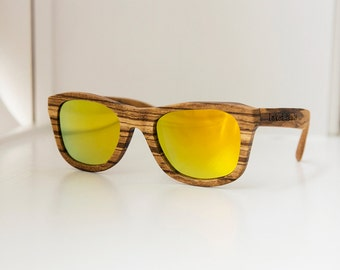 Polarized Zebra Wood Sunglasses with Gold tinted Lens - Mens wooden sunglasses, womens wooden sunglasses, wood frame sunglasses