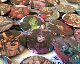 Any 6 Character Buttons - Marvel Buttons, Avengers, Doctor Who