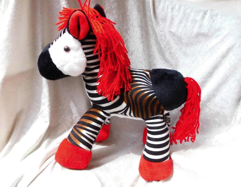Stuffed Horse Toy : Red horse soft toy stuffed animal okapi mane