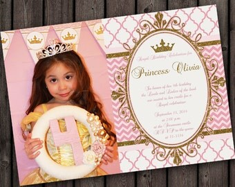 Princess Party invitation, royal birthday celebration invitation, customized wording included, princess picture invitation, pink and gold