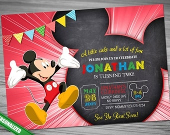 MICKEY CHALK Invitation Mickey Chalk Invitation Mouse Chalk Invitation Mickey Mouse chalk invitation Mickey Invitation