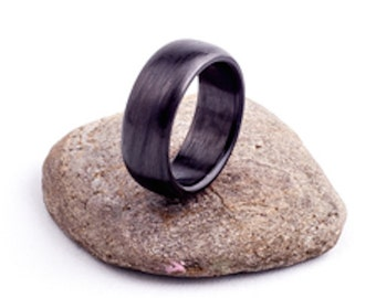 Carbon fiber wedding  band  ring matte finish