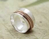 Silver and Gold Spinner Ring - 14K Rose Gold Meditation Ring - Alternative Wedding Ring - 14K Yellow Gold Spinner Ring