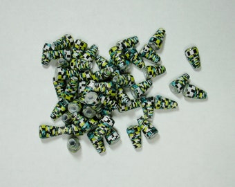 Paper Beads, Loose Handmade Supplies Cone Checkered w/ Black