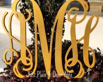 Gold and Glitter 3 Letter Monogram, Baby Shower Gift, Wood Monogram