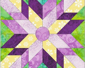 Sunbeam Paper Piece Template Quilting Block Pattern PDF