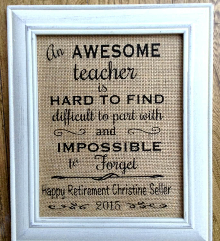Teacher Retirement Gift Burlap Print Custom Print