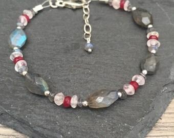Labradorite & Ruby Bracelet, Ruby Bracelet, Labradorite Bracelet, sterling silver bracelet, july birthstone