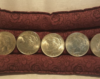 """Set of 5 Silver """"Peace"""" Dollars in AU/BU Condition - EB311"""
